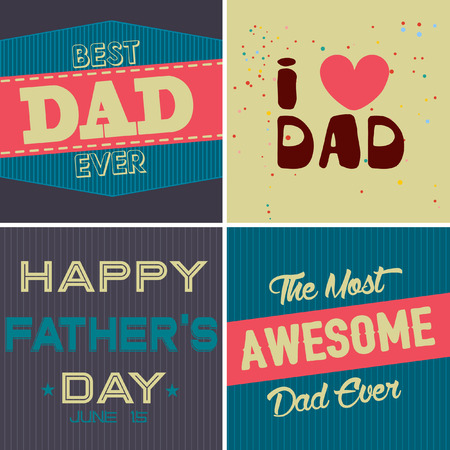 father s day: Father s Day Retro Posters Set. Flat Design. Vintage Style. Vector Illustration.