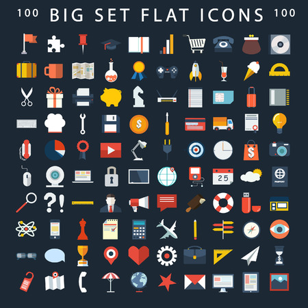 Modern flat icons vector collection in stylish colors of web design objects, office and marketing items.