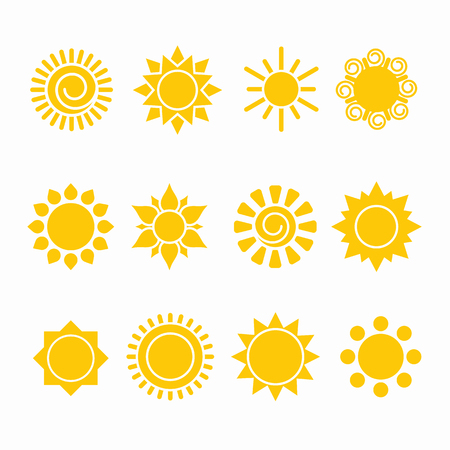 Set of sun icon illustrations, abstract yellow designs in flat art for weather or climate project. Vector Ilustração