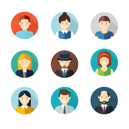 People user pics icons in flat style. Different male and female avatars. Men and women faces collection set. Vector illustration.