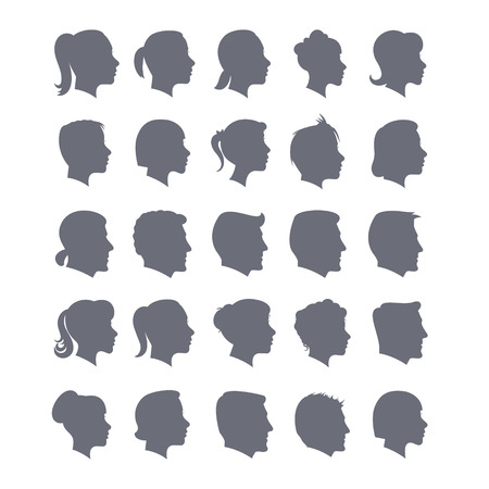 Vector Set of Female and Male Adult and Child Cameo Silhouettes Imagens - 63714892