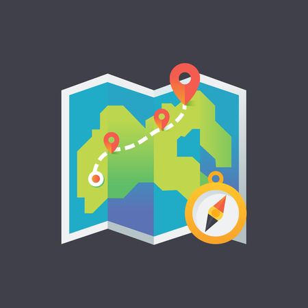 Icon color map in a flat style. Compass path.Vector