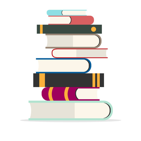 Stack of books vector illustration. Pile of books isolated from background. Stack of colored books icon. Pile of books icon in flat style.