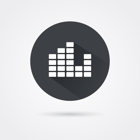 Vector music sound wave icon set on white background