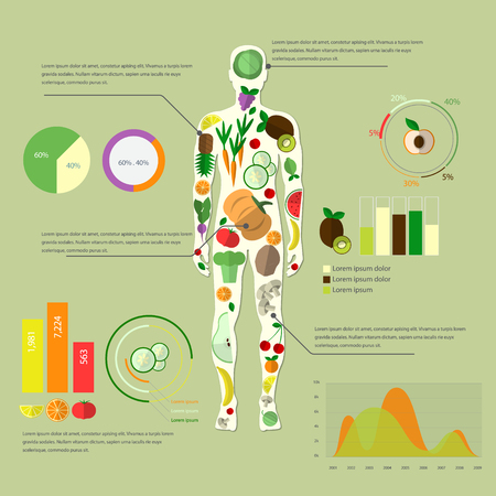 Plan your meal infographic with dish, chart and icons, healthy food and dieting concept Imagens - 63714898