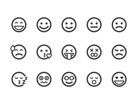 Set of outline emoticons, emoji isolated on white background, vector illustration. Ilustração