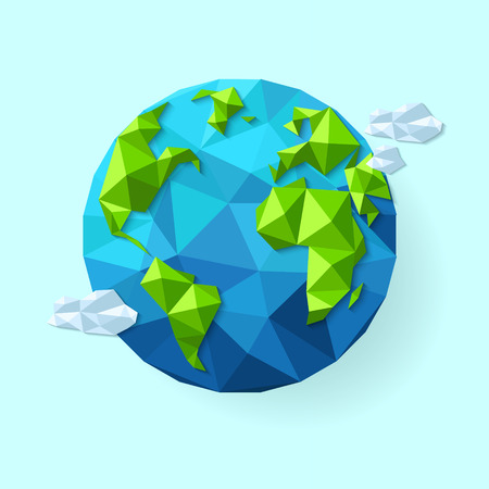 Earth illustration in Low poly style. Polygonal globe icon. Vector isolated Ilustração