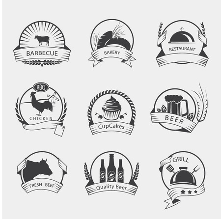 Collection of Premium Beef, Chicken and Pork Labels and Design Elements in Vintage Style Ilustração