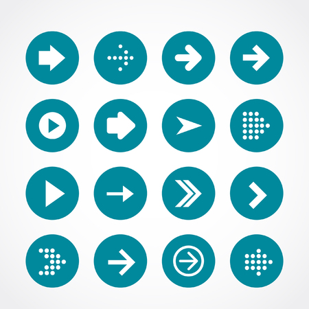 Arrow sign icon set. Simple circle shape internet button on gray background. Imagens - 63714905
