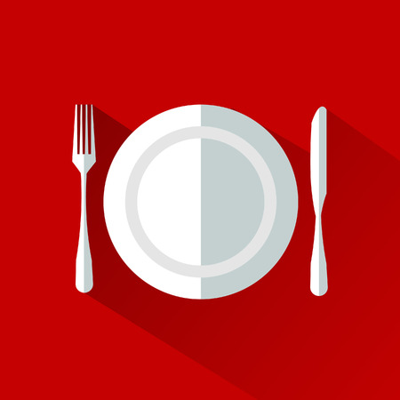 Dish fork and knife icon , solid illustration, pictogram isolated on gray Ilustração