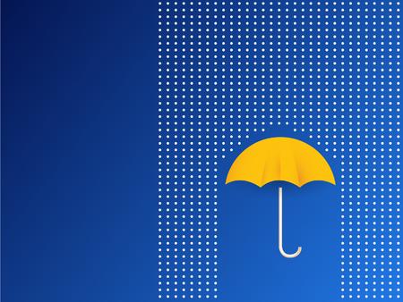 rainbow umbrella: Vector umbrella and rain drops in rainbow colors - abstract weather concept