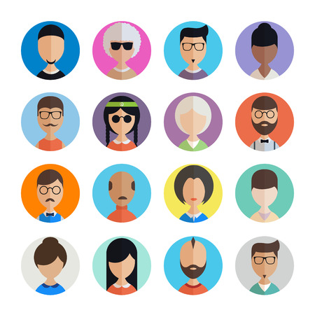 People user pics icons in flat style. Different male and female avatars. Men women faces collection set. Vector illustration. Ilustração
