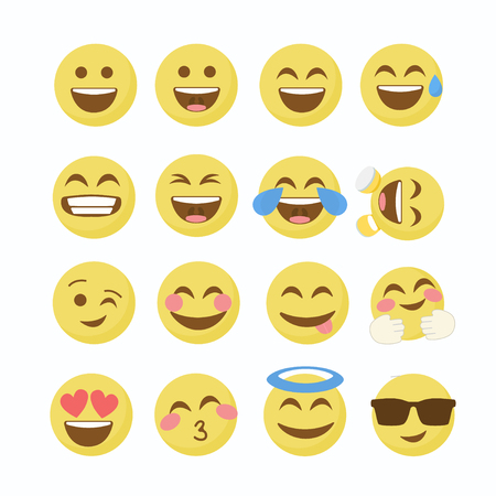 Emoji Flat Icons .Emoticon emoji set. Emoticon emoji icon. Emoticon emoji design. Ilustração