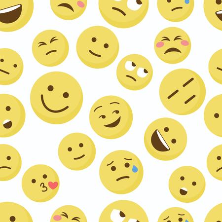 emoji seamless pattern on a white background. illustration