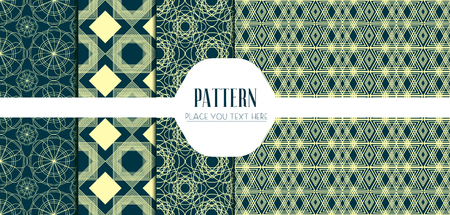 Seamless beautiful Geometric Patterns Set. Vector illustration. Ilustração