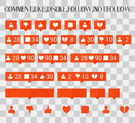 Great set. Communication icons on the Internet Vector Like, Follower, Ilustração