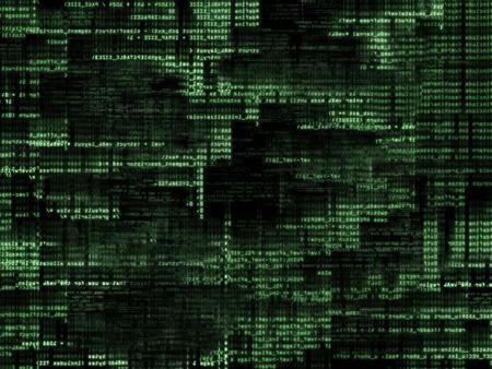 binaire codes van de monitor Stockfoto