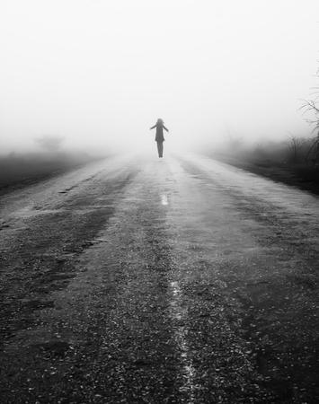 end of road: Wayfarer Road woman sky