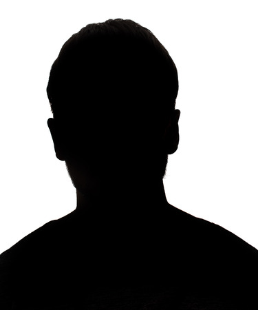 Zwart-wit silhouet portret van onbekende man