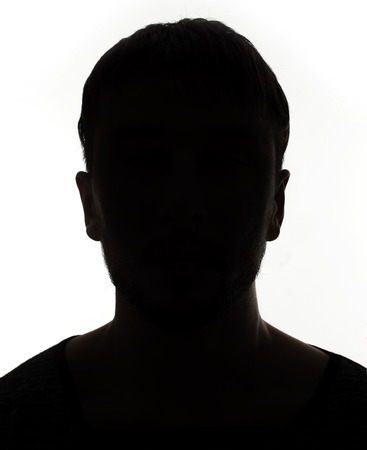 shadow face: Unknown male person silhouette Stock Photo