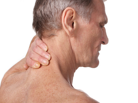 senior man on a neck pain: Pain Isolated