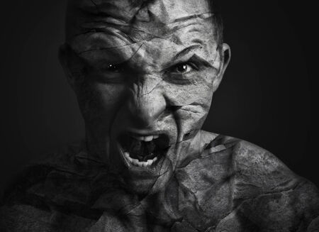 photo manipulation: Portrait of a man with angry expression photo manipulation Stock Photo