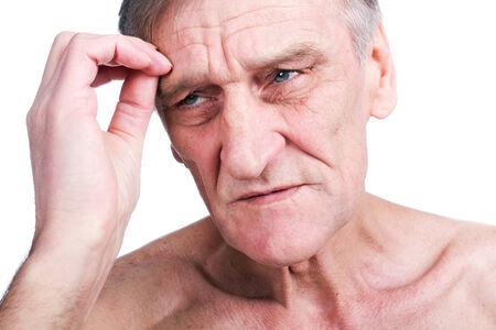 old man on a physical pressure: Headache