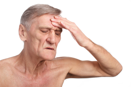 old man on a physical pressure: Pain Medical concept