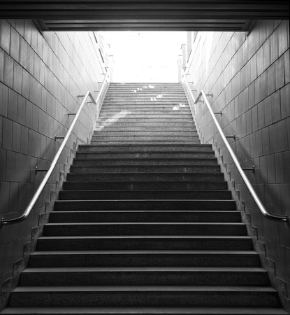 light at the end of the tunnel: Light at the end of tunnel  black and white photo Stock Photo