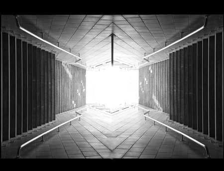 Light at the end of tunnel  black and white photo photo
