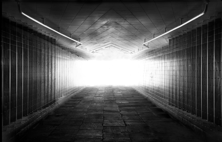light at the end of the tunnel: Light at the end of tunnel black and white Stock Photo