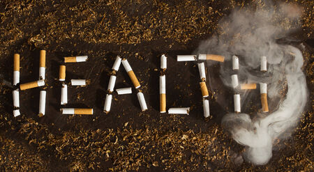 Health Warning sign Negative tobacco concept Stock Photo - 29470290