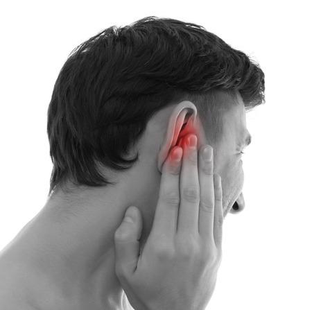 dolor de oido: Concepto médico Earache Foto de archivo