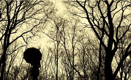 vintage: Portret van mensen in Forest Wandelpad, Sepiakleurig