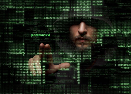 criminals: Silhouette of a hacker uses a command on graphic user interface
