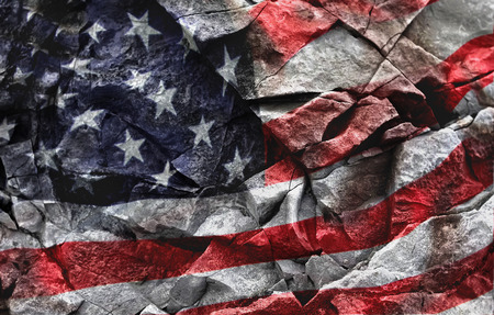 Watercolor American flag illustration on stone background