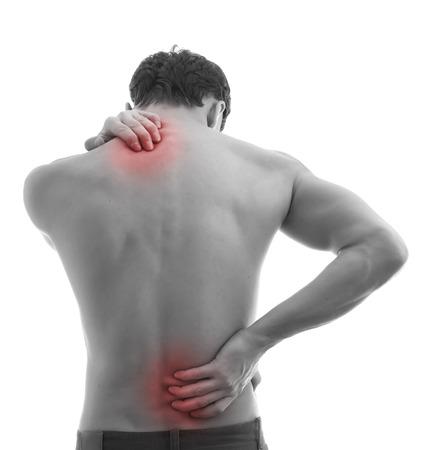douleur epaule: concept de douleur isol� sur fond blanc Banque d'images
