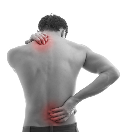 head and  back: Pain concept isolated on white background Stock Photo