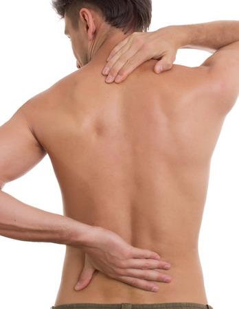 epaule douleur: concept de douleur isolé sur fond blanc Banque d'images