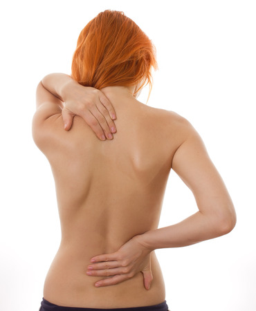 woman back: Pain concept isolated on white background Stock Photo