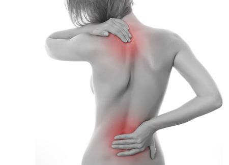 dolor de espalda: Concepto de dolor aislado en el fondo blanco Foto de archivo