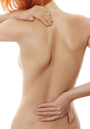 personas de espalda: Concepto de dolor aislado en el fondo blanco Foto de archivo