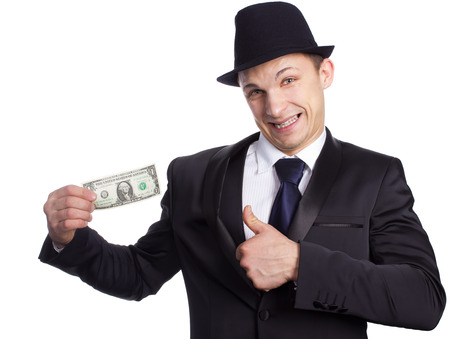 Business person hold one dollar in hand  photo