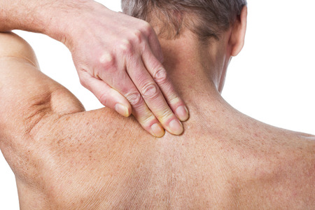 senior man on a neck pain: Pain in back Medical concept