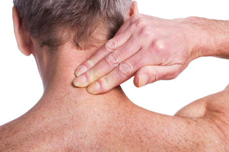 old man on a physical pressure: Pain Stock Photo