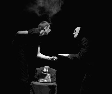 theatre masks: Dramatic theater Stock Photo