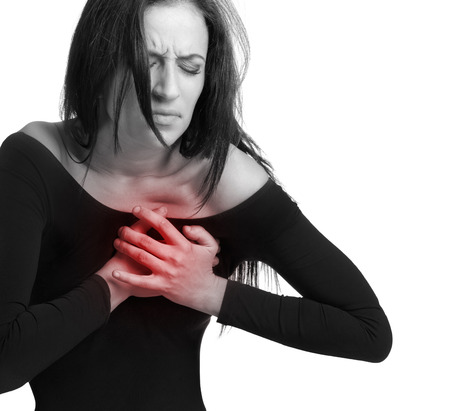 Girl with chest pain photo