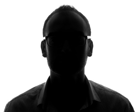 Unknown male silhouette  Back lit studio isolated