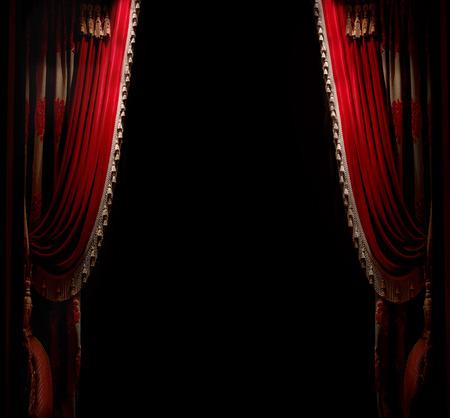 broadway stage: Curtain with space for copy