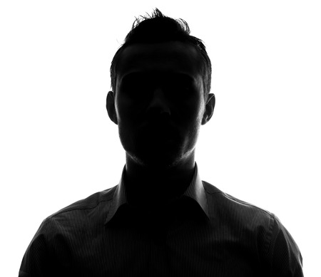 one people: Unknown male person silhouette Stock Photo